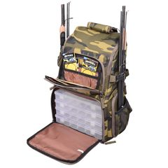 Spro Back Pack Camouflage met 4 tackleboxen